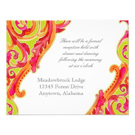 Modern Swirl Flourish Heart Tangerine Lime Green Invites