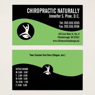Modern Swirl Leaf Logo Office Hours Chiropractor Business Card
