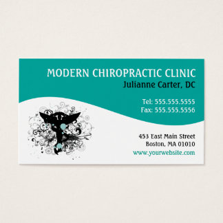 Modern Swirl {Teal} Chiropractic Business Cards