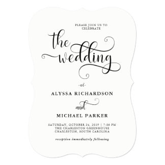 Modern Swirly Calligraphy Black and White Wedding Card