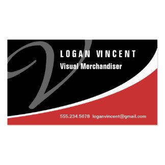 Modern Swoosh Monogram V Business Card