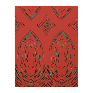Modern Symbolic Theme Folk Ornament In Red Wood Print