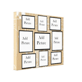 Modern Tan and White Photo Collage Personalized Canvas Print