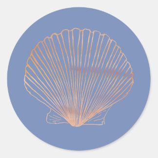Modern Tan Scallop Shell Round Sticker