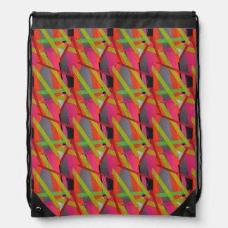 Modern Tape Art Neon Drawstring Bag
