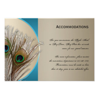 Modern Taupe Aqua Peacock Accomodations Card Personalized Invite