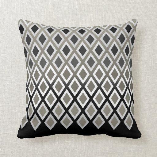 Modern Taupe & Black Diamond Pattern Accent Throw Pillows