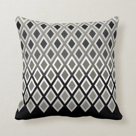 Modern Taupe & Black Diamond Pattern Accent Throw Pillow