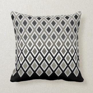 Modern Taupe & Black Diamond Pattern Accent Throw Pillow