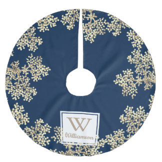Modern Taupe Flower Buds & Family Name Brushed Polyester Tree Skirt