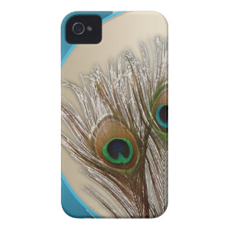 Modern Taupe Peacock Feather iPhone 4 Case-Mate Case