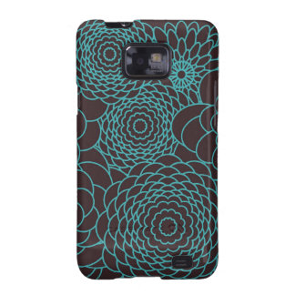 Modern teal abstract flowers galaxy SII cases