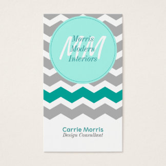 Modern Teal and Gray Vertical Business Cards