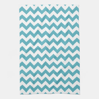 Modern Teal Blue and White Chevron Zigzag Pattern Kitchen Towel