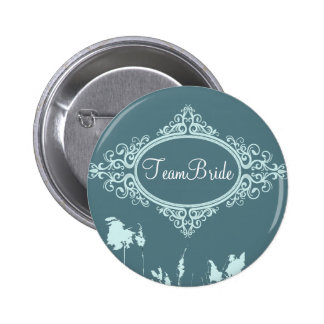 Modern Teal Blue Rustic Country Wedding Pinback Button