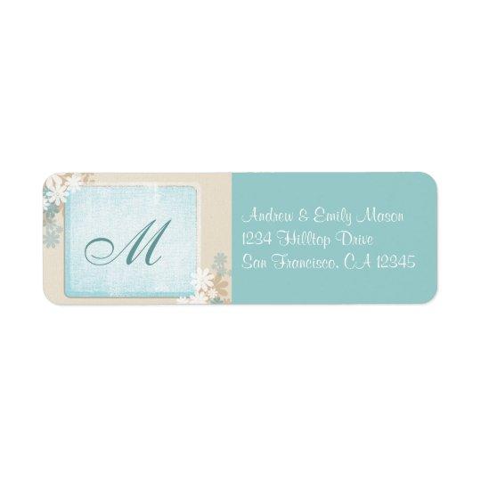 Modern Teal Blue & Tan Floral Monogram Address Lab