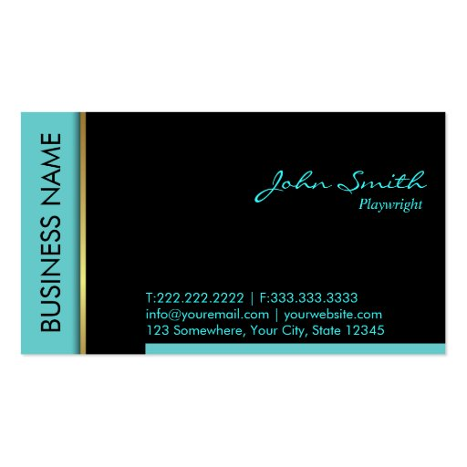 Modern Teal Border Playwright Business Card