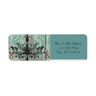 modern Teal Chandelier vintage peacock Wedding Return Address Label