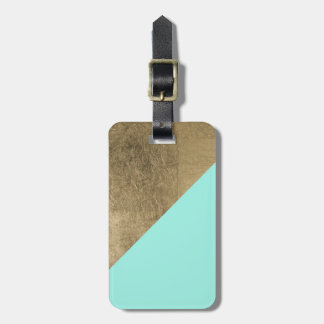 Modern teal color block faux gold chic elegant luggage tag