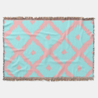 Modern teal coral trendy ikat pattern throw blanket
