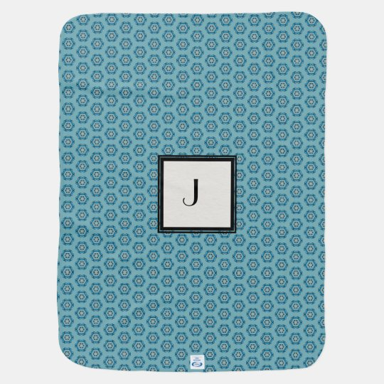 Modern Teal Geometric Pattern with Monogram Baby Blanket