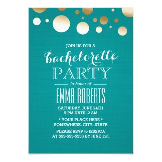 Modern Teal & Gold Dots Linen Bachelorette Party Card