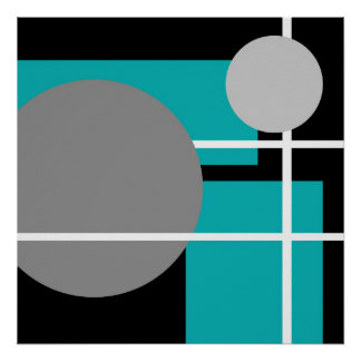 Modern Teal Gray Black White - MS0001 Canvas Poster