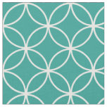 Modern Teal Green and White Circle Diamond Pattern Fabric