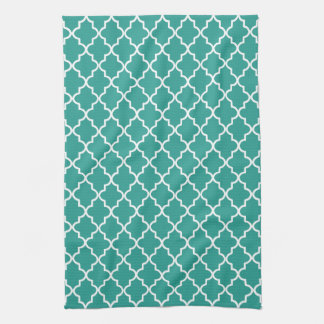 Modern Teal Green and White Moroccan Quatrefoil Hand Towel