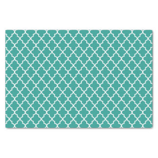 Modern Teal Green and White Moroccan Quatrefoil Tissue Paper