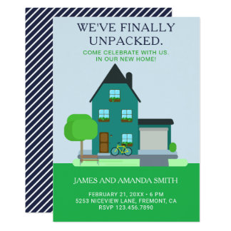 Modern Teal Green Home Housewarming Party Invite