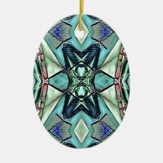 Modern Teal Lilac Peach Artistic Pattern Ceramic Ornament