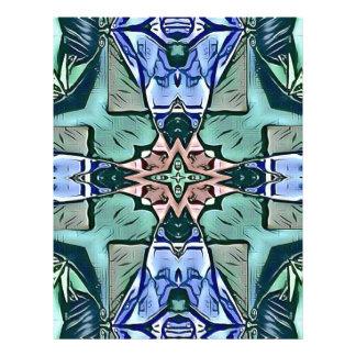 Modern Teal Lilac Peach Artistic Pattern Letterhead