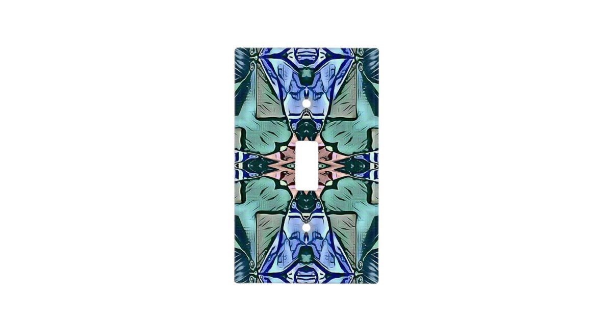 Modern Teal Lilac Peach Artistic Pattern Light Switch