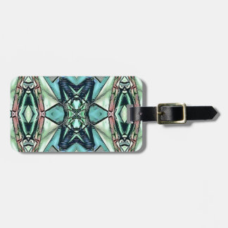 Modern Teal Lilac Peach Artistic Pattern Luggage Tag