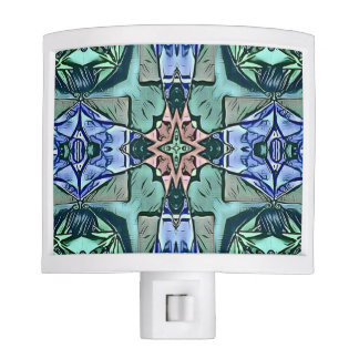 Modern Teal Lilac Peach Artistic Pattern Nite Lights