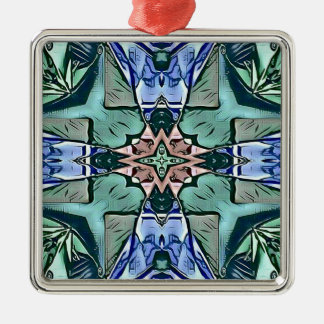Modern Teal Lilac Peach Artistic Pattern Silver-Colored Square Ornament