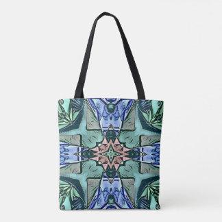 Modern Teal Lilac Peach Artistic Pattern Tote Bag