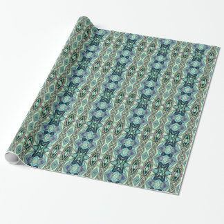 Modern Teal Lilac Peach Artistic Pattern Wrapping Paper