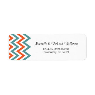 Modern Teal & Orange Chevron & Lovebirds Wedding Return Address Label