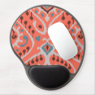 Modern teal orange girly ikat tribal pattern gel mouse pad
