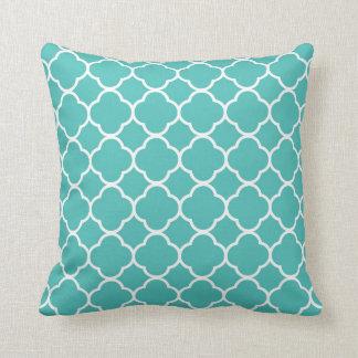 Modern Teal Quatrefoil Throw Pillow