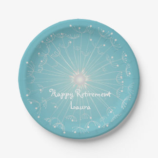 Modern, Teal Retirement Party Plates 7 Inch Paper Plate