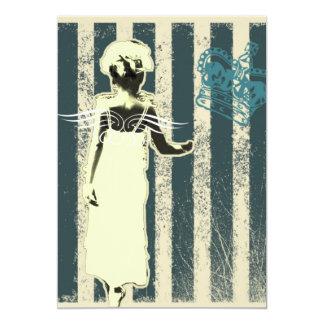 modern teal stripes Junior Bridesmaid Card