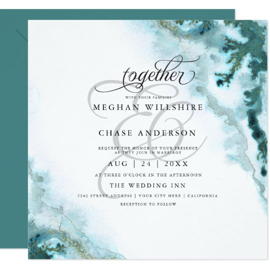 Modern Teal Watercolor Moss Agate BarefootBride™ Card
