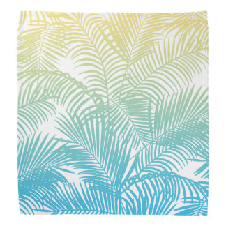 Modern teal yellow tropical palm trees pattern bandana