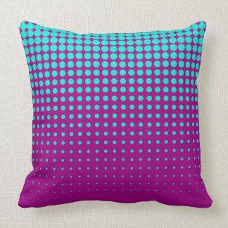 Modern techno shrinking polka dots opal  fuchsia throw pillow