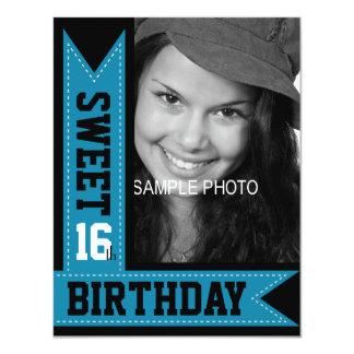 "Modern Teen Sweet 16th Birthday Aqua Ribbons 4.25"" X 5.5"" Invitation Card"