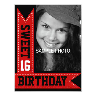 "Modern Teen Sweet 16th Birthday Red Ribbons 4.25"" X 5.5"" Invitation Card"