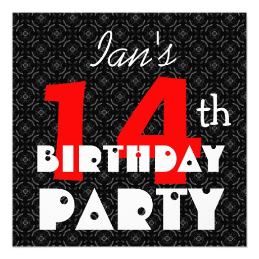Modern Teen's 14th Birthday Red Black and White Announcement